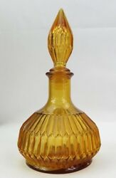 Antique Art Deco Amber Glass Apothecary Bottle Jar Or Pharmacy Decanter 12