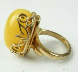 Vintage German Gothic Ring 925 Silver Plated Gold Big Yellow Agate Gemstone 5.5