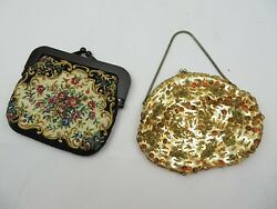 lot of 2 vintage purses petit point tapestry and gold strass