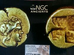 El 1/24 Stater Pan Or Young Satyr Electrum Ngc Xf Lot 409 Ancient Greek