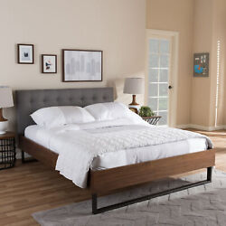 Mitchell Rustic Industrial Gray Fabric Wood Bronze Metal Platform Bed Frame