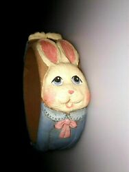 Carved Easter Rabbit Bunny With Basket Bracelet Bangle Rare Early Jim Shore
