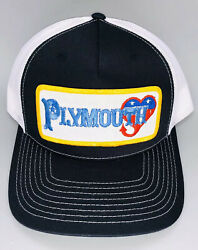 Vintage PLYMOUTH Patch on Richardson 112 Trucker Snapback Hat Racing Dodge Mopar