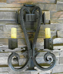 1920s Style Wrought Iron Spanish Revival Hammered Double Wall Sconce Lamp Light