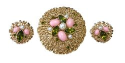 VTG Sarah Coventry Fashion Splendor Gold Tone Brooch & Clip On Earrings Set