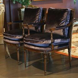 Pair Of Mahogany Occasional Lounge Arm Chairs Distressed Finish