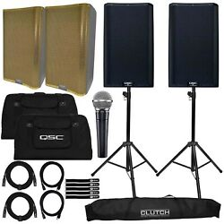 Qsc K12.2 12 Active Dj Pa Speakers Pair W Gold Grills, Cases And Stands Pack