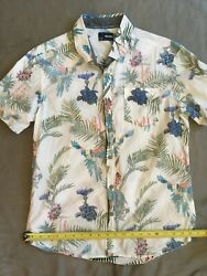 Sunrise Kingdom short sleeve button up shirt Large L cotton tropical foliage