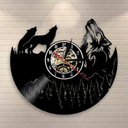 Wolf Wall Clock Howling Art Decorative Modern Watch Vintage Vinyl Record Gift