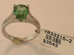 Ladies 18k White Gold Green Tourmaline Diamond Ring Size 6 1/2 New With Tags