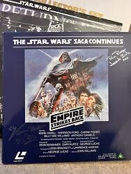 Star Wars The Empire Strikes 1985 Laserdisc Signed By Kenny Baker And Pam Roscoa