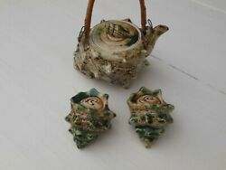 Vintage Florida Salt And Pepper Shakers Crusted Sea Shells And Creamer Pitcher Japan