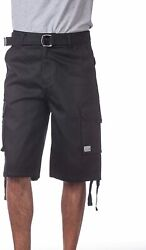 Pro Club Menand039s Cotton Twill Cargo Shorts With Belt - Regular And Big And Tall Size