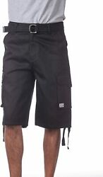 Pro Club Men's Cotton Twill Cargo Shorts With Belt - Regular And Big And Tall Size