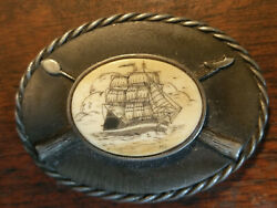 Belt Buckle With Real Scrimshaw Hand Made By Miles Barber Vintage New Old Stock