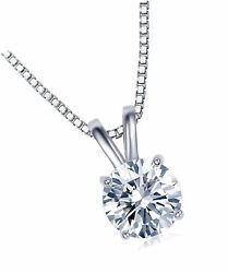 18K White Gold Plated Cubic Zirconia Necklace for Women-2 Carat CZ for