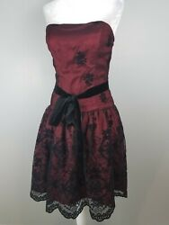 BETSY & ADAM designer prom cocktail party dress gown 4 deep red black floral $59.99
