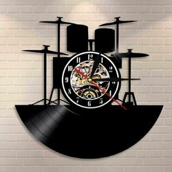 Drum Kit Vinyl Record Wall Clock Music Band Instruments Drummer Home Decor Watch