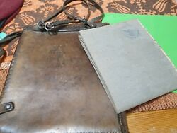 Ww2 German Leather Bag And Military Map Signed J-9 1943 Map Is Made Of Cloth