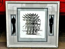 Beautiful Vintage Native American Seregraph Print Picture Signed Framed