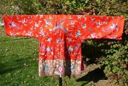 Antique Red Chinese Silk Embroidered Waves Peony Wedding Phoenix Robe Fabulous