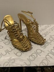 Gucci Gold Leather Caged Heels 39 $295.00