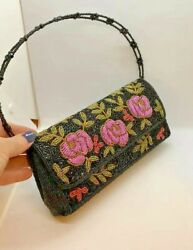 Black Beaded Evening Bag Purse with Pink Roses Design Elegant Dressy Handbag $29.97