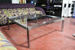 Vintage Minimalist Stainless Steel And Glass Cocktail Table Mid Century Modern