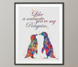 Penguins Love Soulmate Quote Watercolor Art Print Wedding Gift Christmas Gift