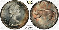1967 Canada Silver Quarter 25 Cents Bu Pcgs Ms64 Color Toned Coin In High Grade