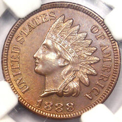 1888 88/88 Fs-302 Indian Cent 1c - Ngc Uncirculated - Rare Variety In Ms Unc