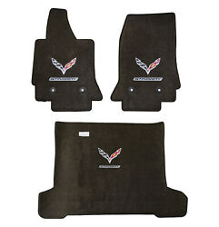 2014-2019 C7 Corvette Coupe Brownstone Floor Trunk Mats - Flags And Stingray Logos
