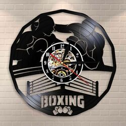 Boxing Gym Sign Martial Arts Wall Clock Madville Decor Event Vinyl Record Watch