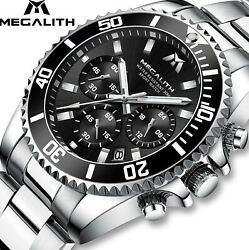 Megalith Chronograph Luxury Waterproof Mens Watch Silver Black Great Gift Idea