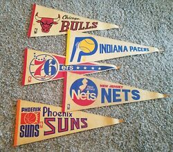 Lot Of 5 Vintage 60s 70s Nba Teams Pennant Bulls Pacers Suns Nets 76ers