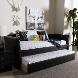 Camino Modern Faux Leather Upholstery Sofa Daybed Frame W Pull-out Guest Trundle
