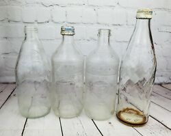 Vintage Lot Of 4 Pepsi-cola Clear Glass Swirl Bottles One Pint Screw/pop Top Mix