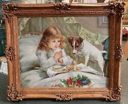 After Charles Burton Barber Suspense Oil Painting By J. Morgan Tae Jung