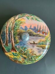 Rare Antique French Enamel Covered Box Bomboniere Fishing Signed Gamet
