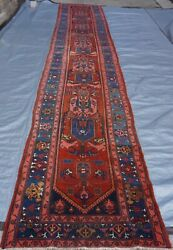 Genuine Antique 1880s Herizz Triball Hand Knotted Wool Oriental Rug 3 X16.5