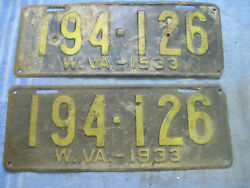 Vintage Pair Front And Rear West Virginia License Plates Wv 1933 194-126
