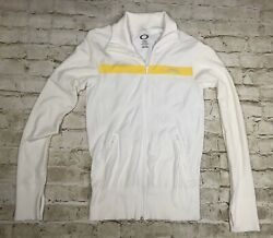 Oakley White Yellow Zip Up Track Jacket Women Size Large With Thumb Holes $22.00