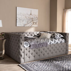 Anabella Modern Gray Button-tufted Fabric Upholstered Sofa Daybed Frame