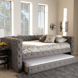 Anabella Modern Gray Tufted Fabric Sofa Daybed Frame With Pull-out Guest Trundle