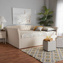 Delora Modern Beige Tufted Fabric Upholstered Flared Arms Sofa Daybed Frame
