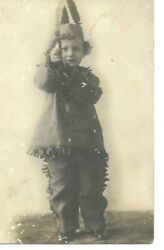Native American Indian Rppc Postcard Costume Boy Child Pointing Arrow To Camera
