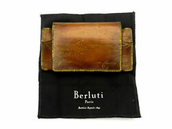 Auth Berluti Glasses Case Calligraphy Golden Patine Leather Brown 18028838kt