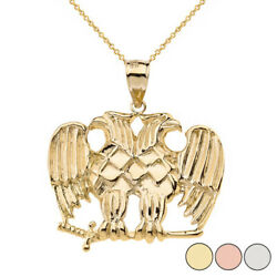 Solid Gold Or 925 Silver Masonic Double Headed Eagle Pendant Necklace