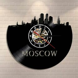 Russian Architecture Wall Art Moscow Decor Vintage Vinyl Record Clock Skyline