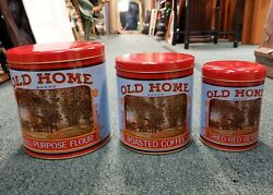 Set Of 3 Vintage Old Home Tin Nesting Kitchen Canisters From D.h. Holmes